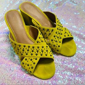 Halogen suede studded mules yellow